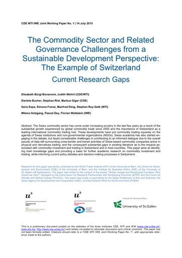 The Commodity Sector and Related Governance Challenges from a Sustainable Development Perspective: The Example of Switzerland Current Research Gaps