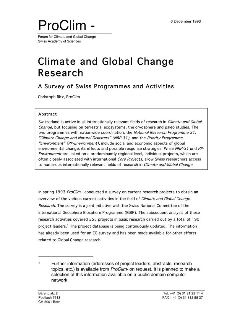 Report: Climate and Global Change Research