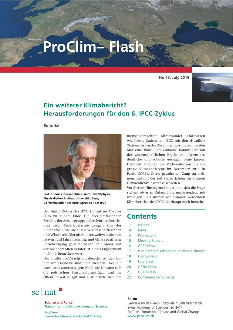 entire publication: ProClim- Flash 63 / Edito Thomas Stocker