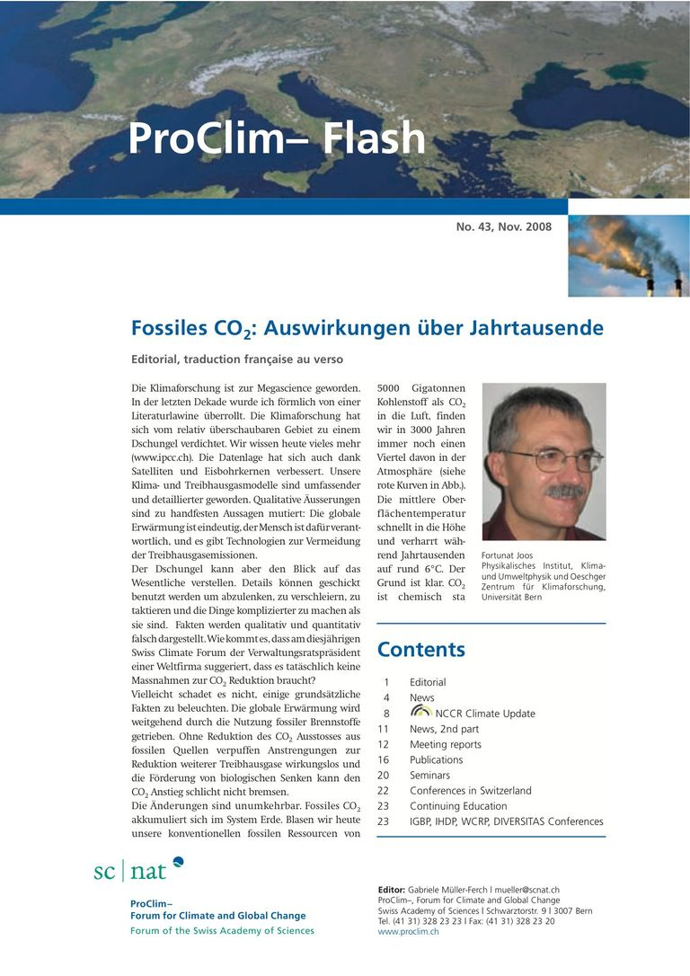 entire publication: ProClim- Flash 43 / Edito Fortunat Joos