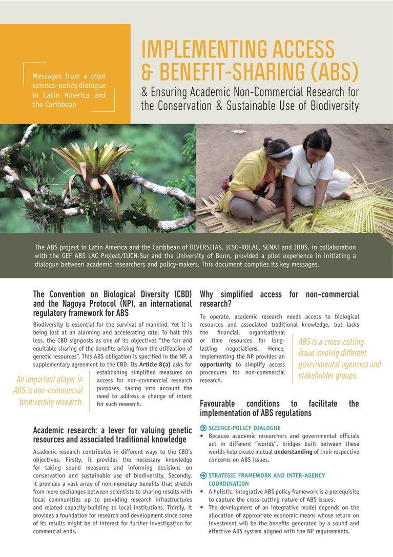 2-page key messages: Implementing Access & Benefit-Sharing (ABS) & Ensuring Academic Non-Commercial Research for the Conservation & Sustainable Use of Biodiversity.