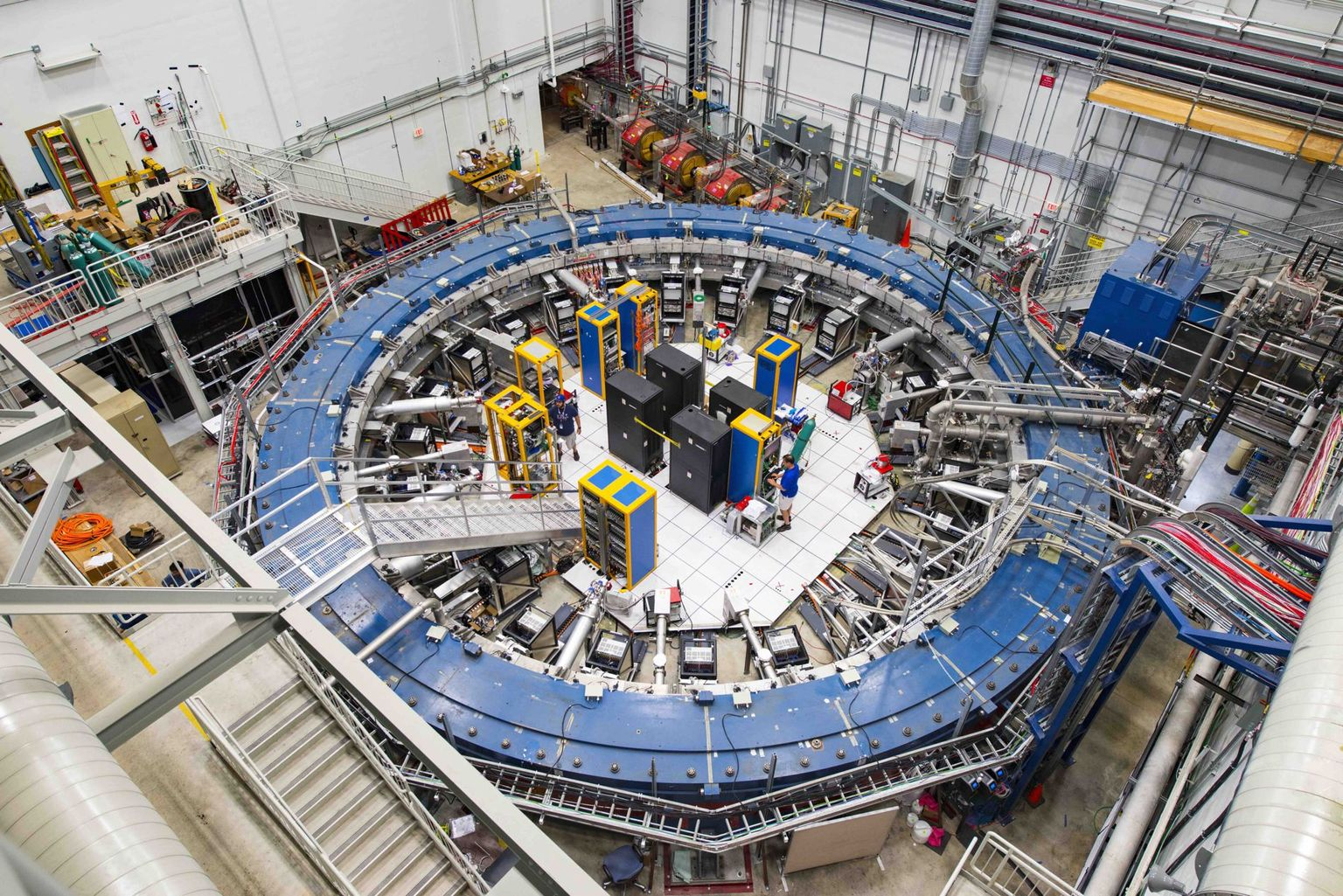 This ring magnet is part of the experiment used to precisely measure the magnetic dipole moment of muons at Fermilab near Chicago.