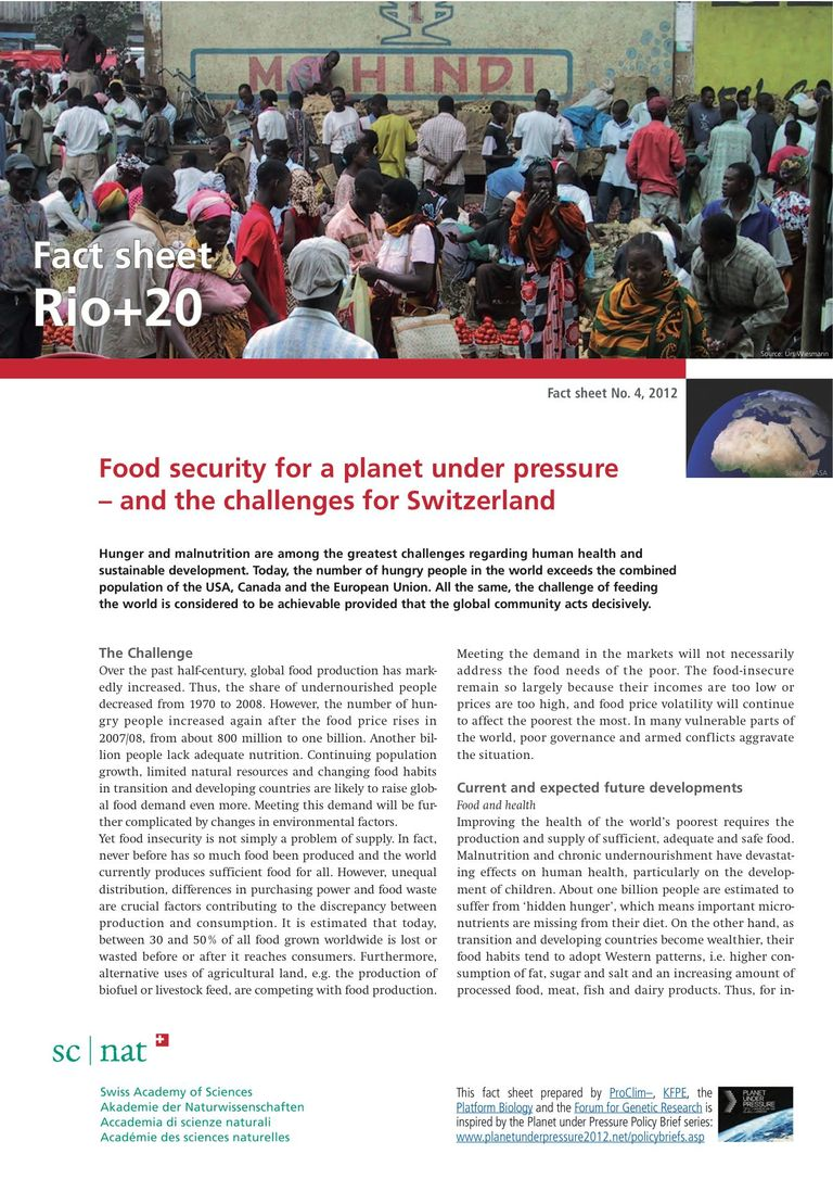Food security for a planet under pressure – and the challenges for Switzerland