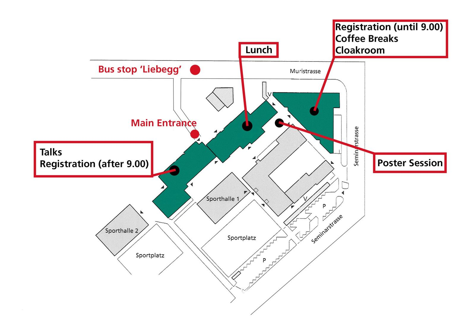 19th Swiss Global Change Day: Site plan Campus Muristalden