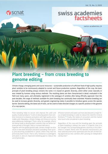 Plant breeding – from cross breeding to genome editing.