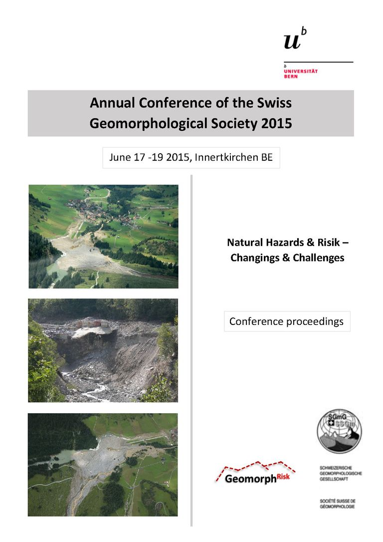 Frontpage Conference  ProceedingsAnnual Conference of the Swiss Geomorphological Society 2015