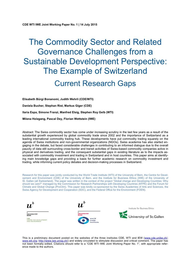 WTI Working Paper July 2015: The Commodity Sector and Related Governance Challenges from a Sustainable Development Perspective: The Example of Switzerland
