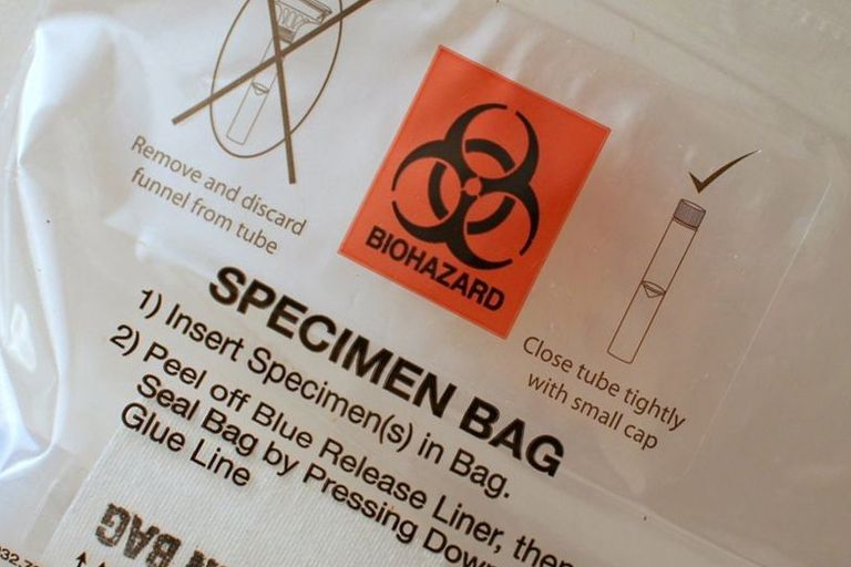 Specimen bag for biological sample.