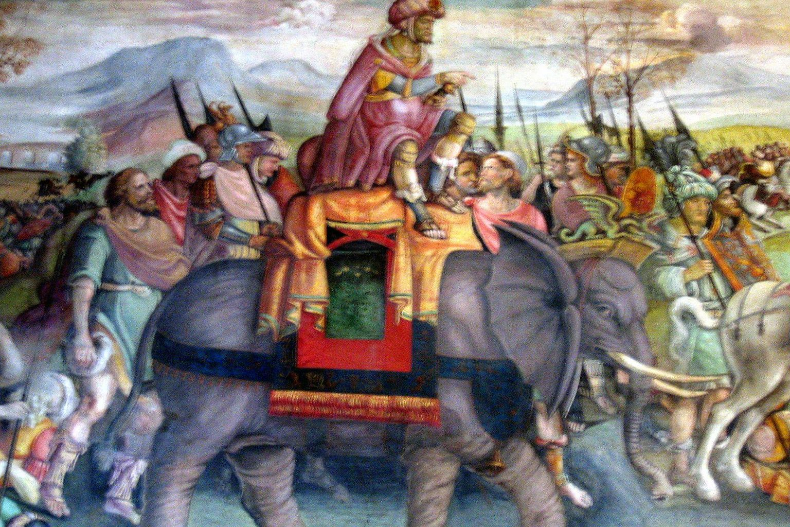 Hannibal Crossing the Alps; detail from a fresco ca 1510, Palazzo del Campidoglio (Capitoline Museum), Rome