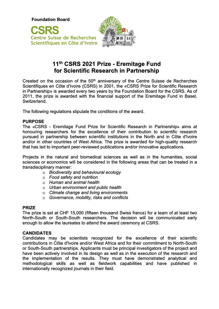 CSRS 2021 Prize Ermitage Fund