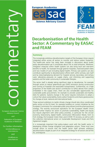 "EASAC / FEAM Commentary ""Decarbonisation of the health sector"""