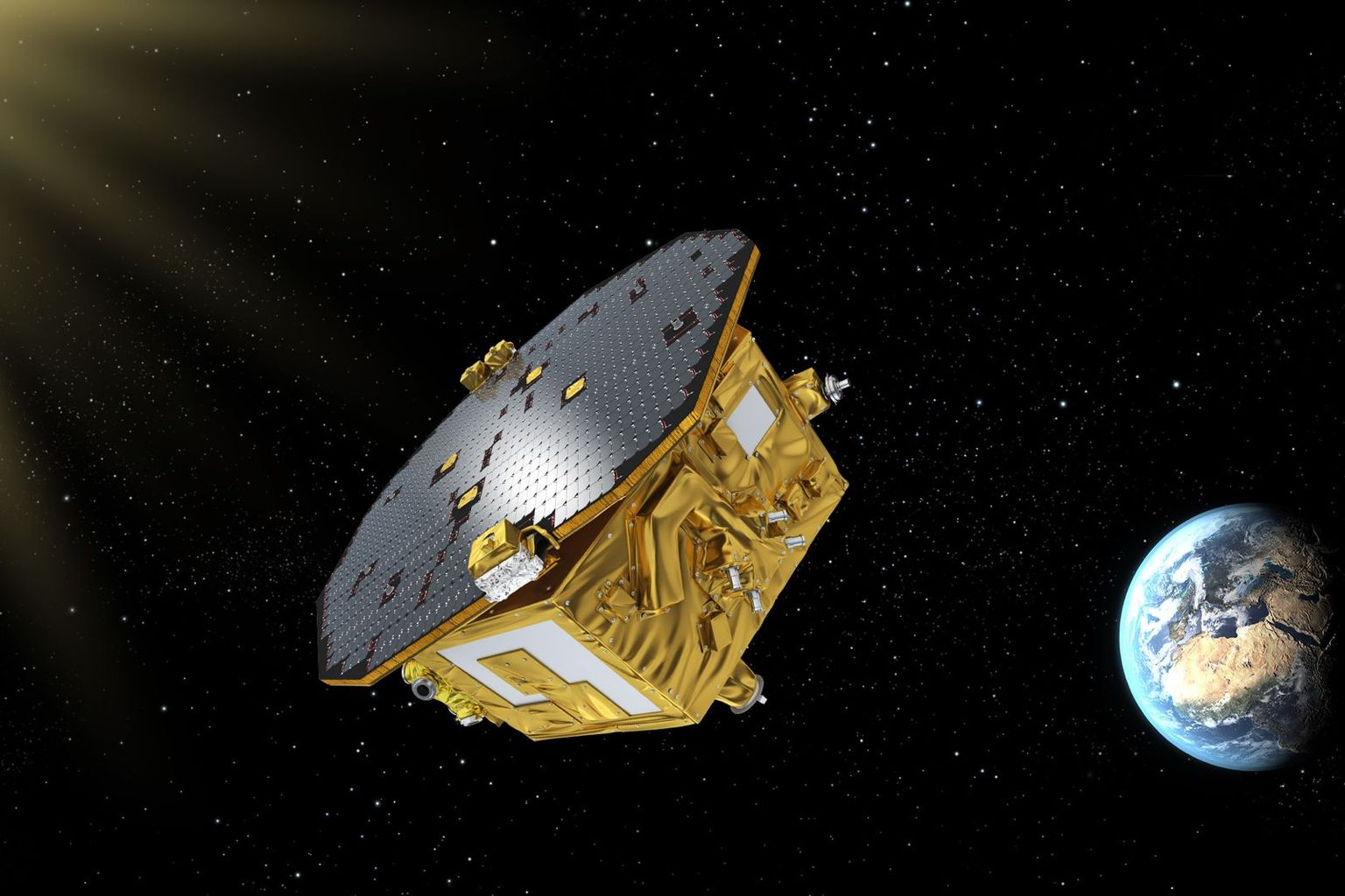 Visualization of LISA Pathfinder in space.