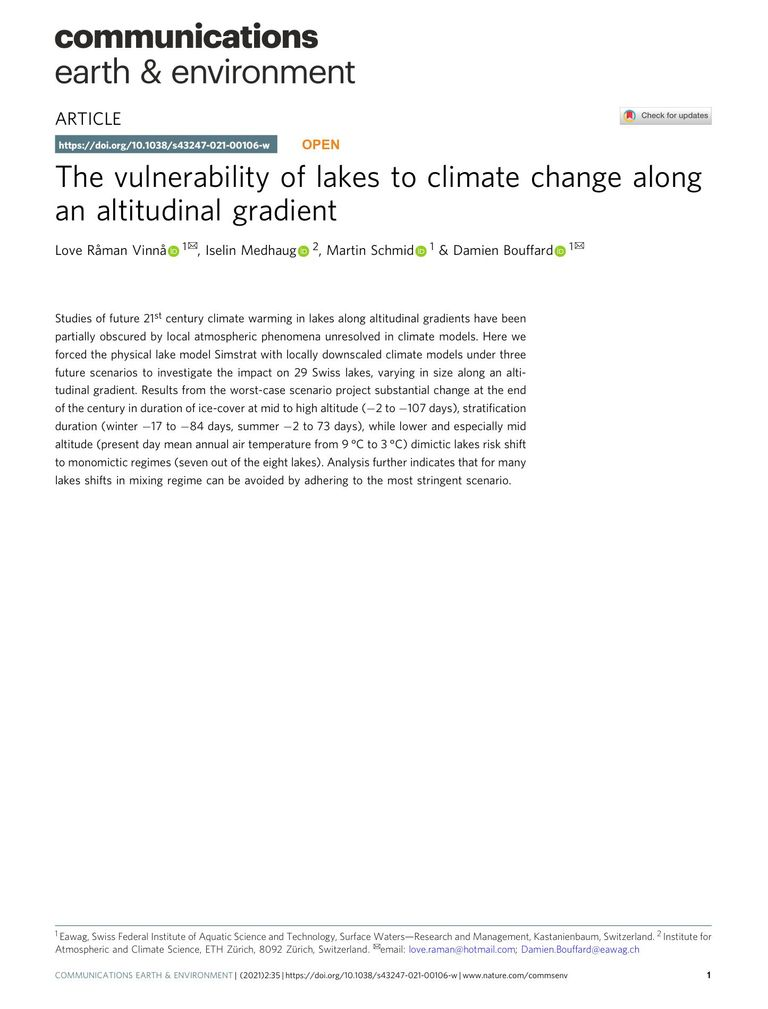 The vulnerability of lakes to climate change along an altitudinal gradient