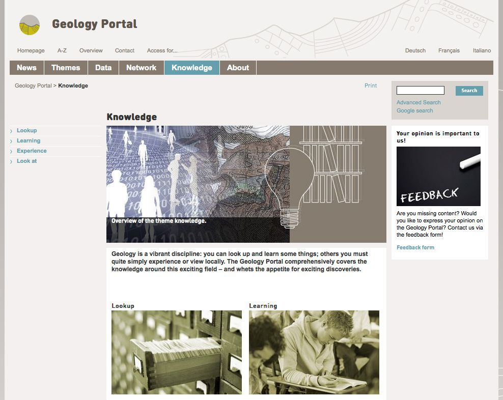 The Geology Portal: The information platform of the Swiss geology community
