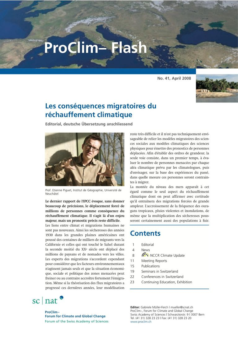 entire publication: ProClim- Flash 41 / Edito Etienne Piguet