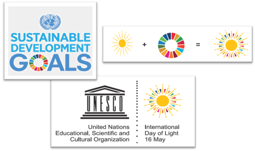 The logo of the International Day of Light integrates the colour circle of the 17 Sustainable Development Goals