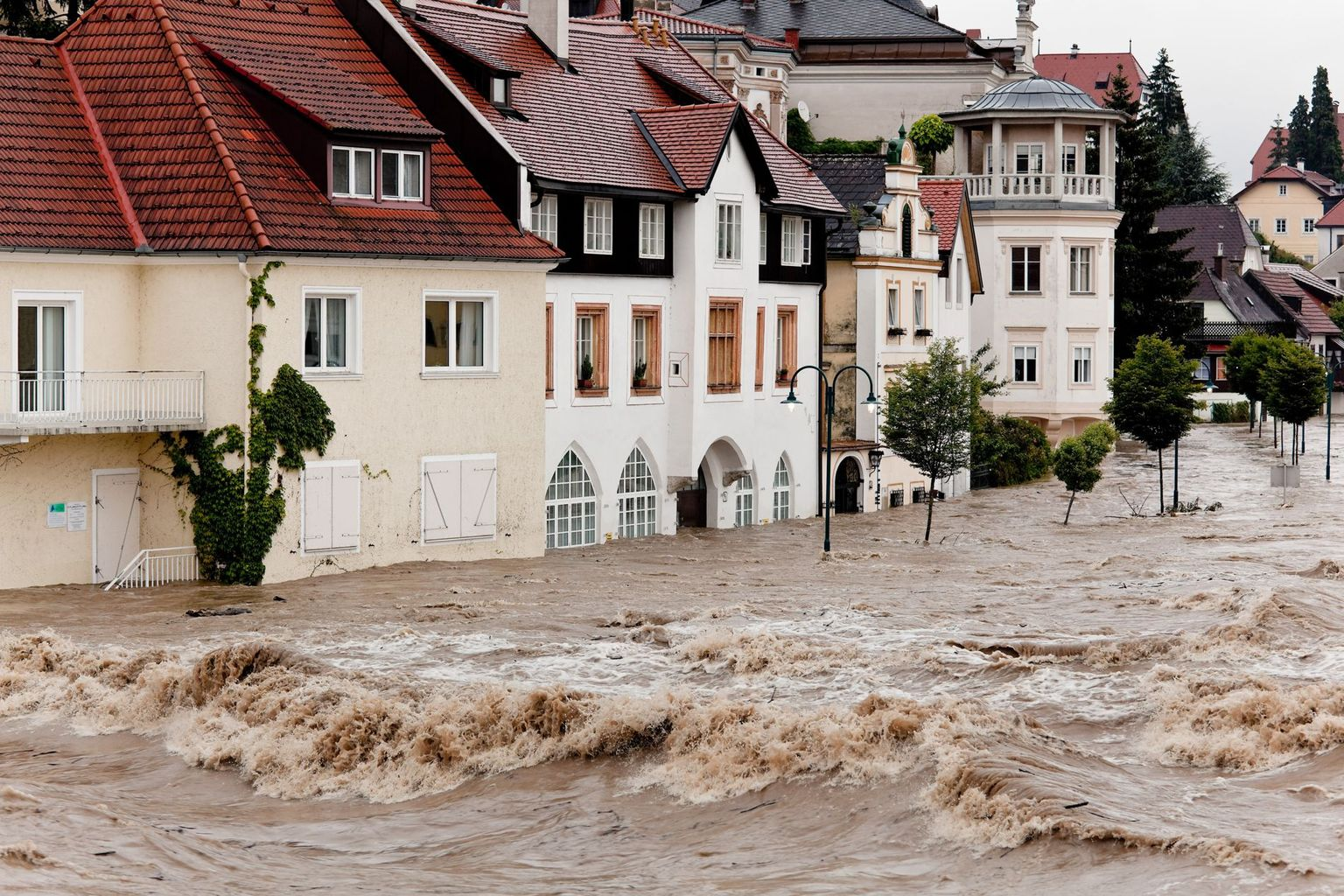 Floods in the streets of Steyr, Austria