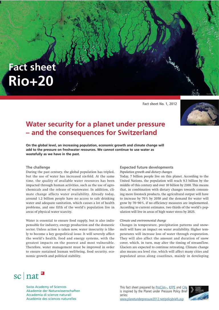 Water security for a planet under pressure and the consequences for Switzerland