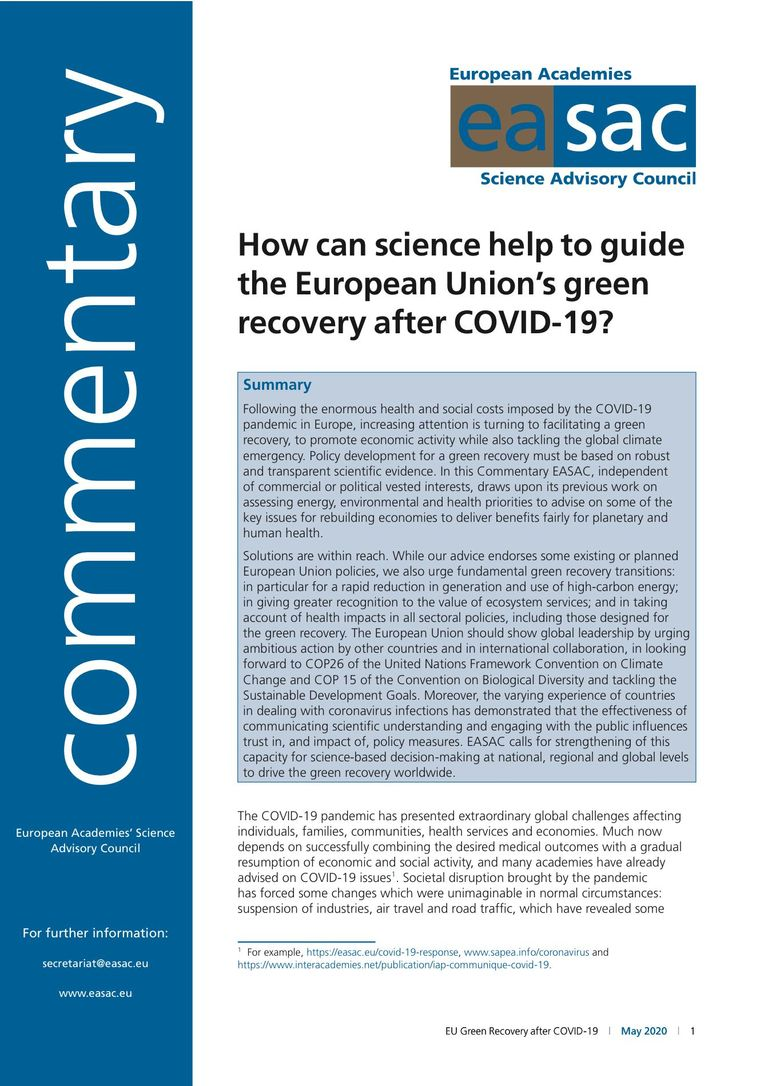 "EASAC Commentary ""How can science help to guide the European Union's green recovery after COVID-19?"""