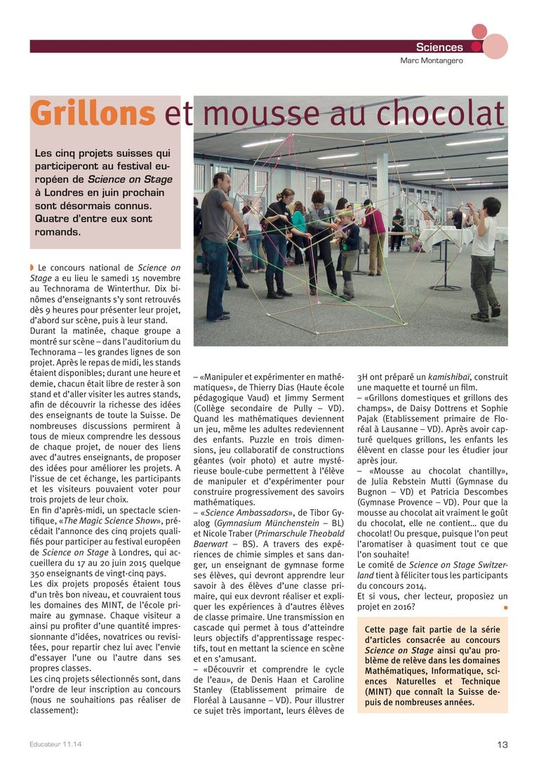 Science on Stage - l'Educateur 11/14