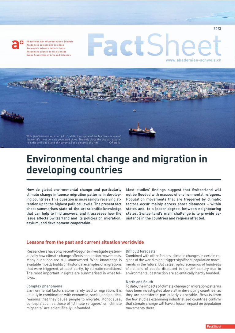 a+ Fact Sheet (English): Environmental change and migration in developing countries
