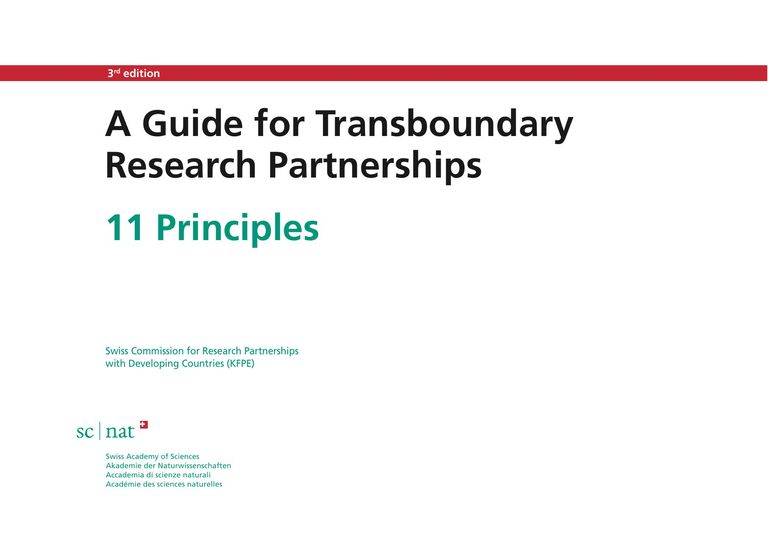 A Guide for Transboundary Research Partnerships: 11 Principles & 7 Questions (3rd ed., 2018)