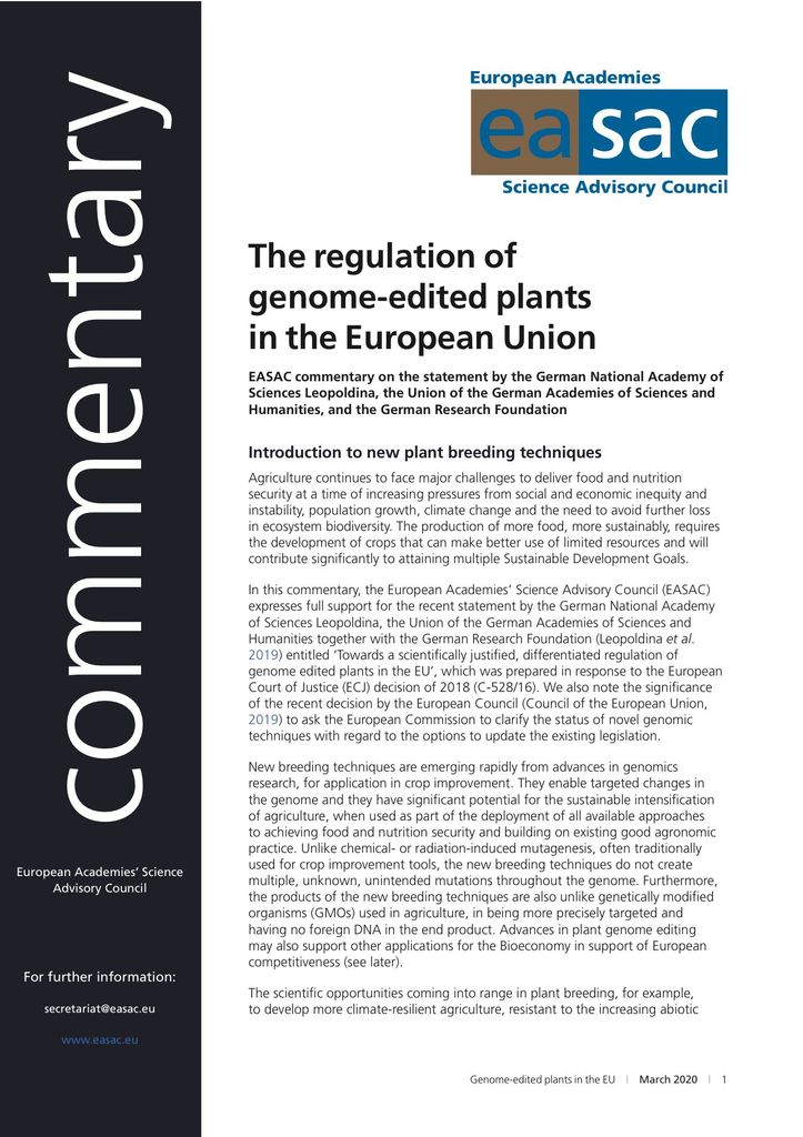 "EASAC Commentary ""The regulation of genome edited plants in the EU"""