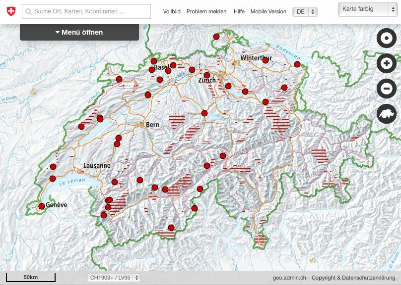 the Swiss geotopes in the map viewer of Switzerland
