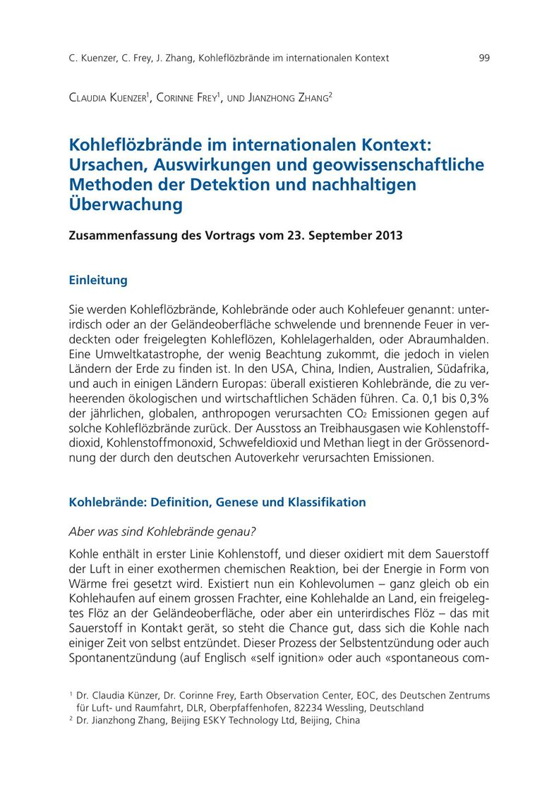 Kohleflözbrände im internationalen Kontext