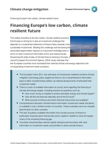 EEA (2017): Financing Europe's low carbon, climate resilient future
