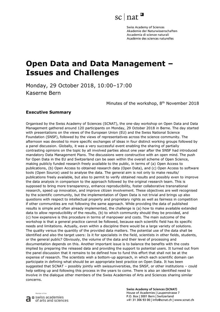 Minutes of the Workshop on Open Data and Data Management 2018