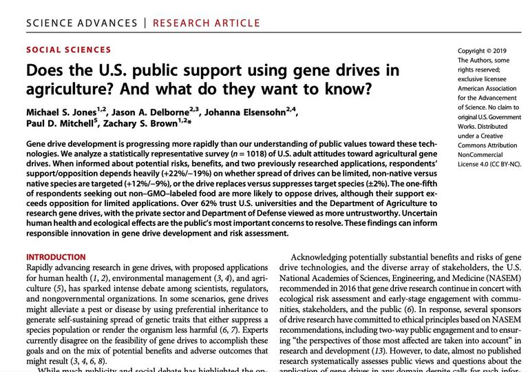 Does the U.S. public support using gene drives in agriculture? And what do they want to know?
