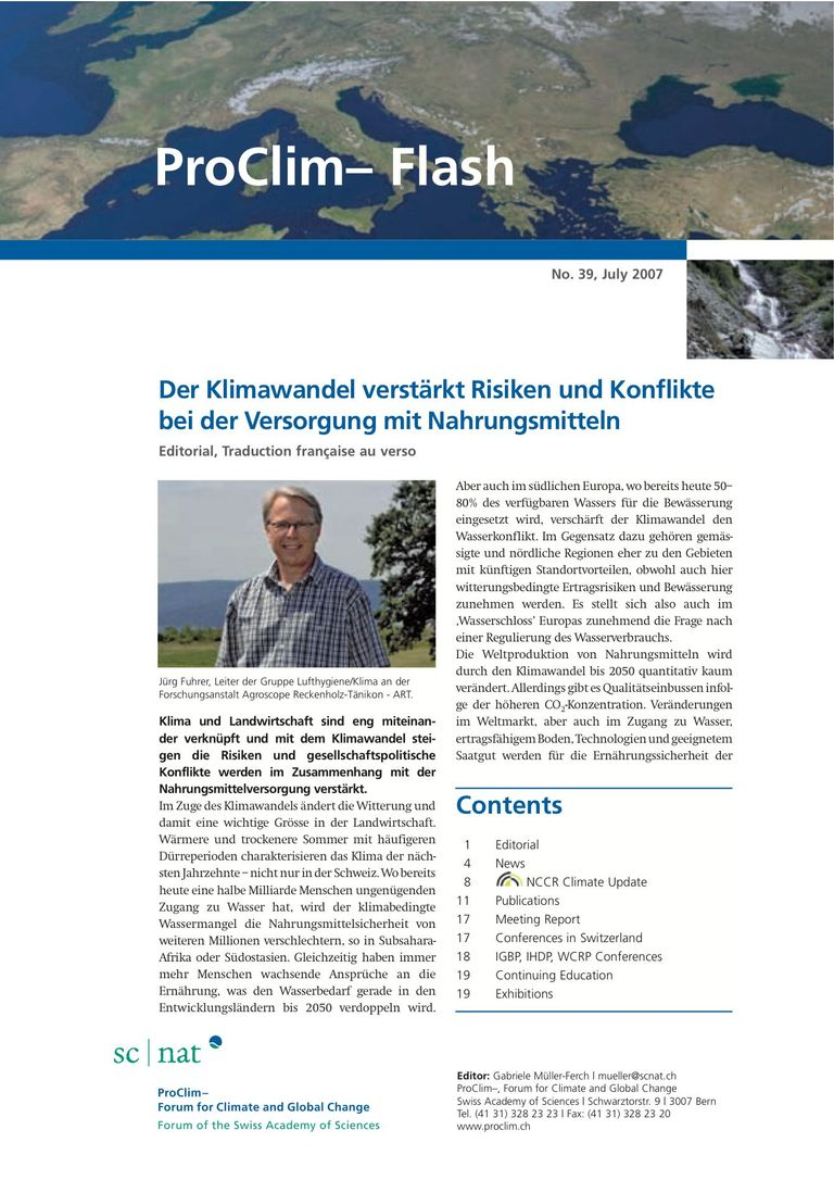 entire publication: ProClim- Flash 39 / Edito Jürg Fuhrer