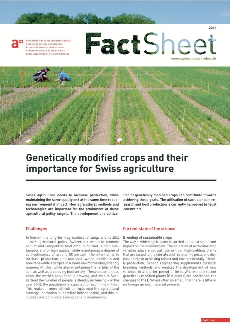 Factsheet: Genetically modified crops and their importance for Swiss agriculture (2013)