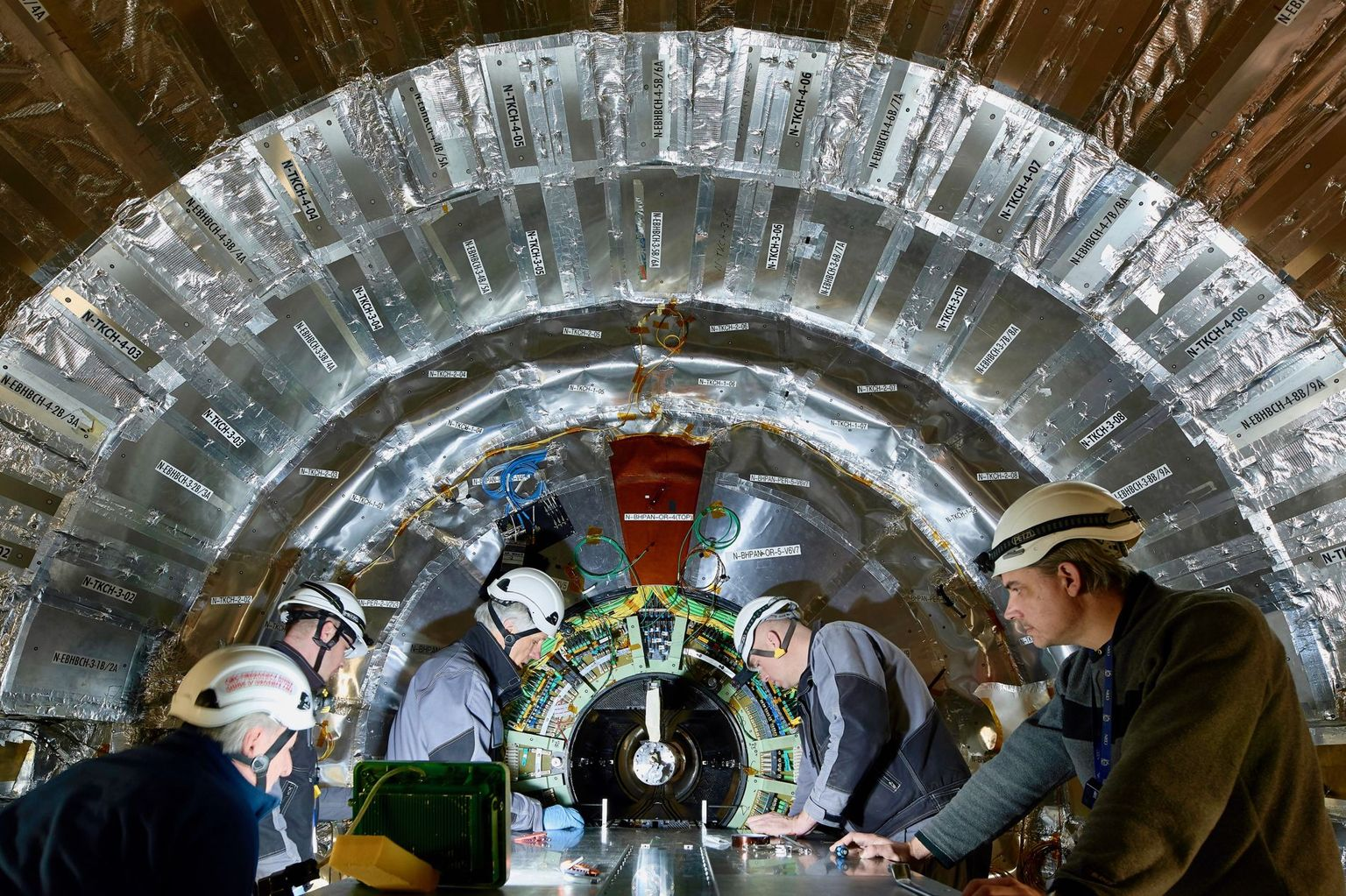 CMS particle physics detector on the  Large Hadron Collider at CERN.