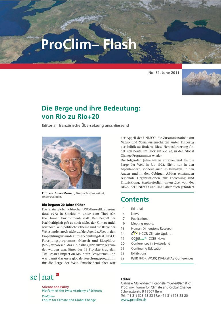 entire publication: ProClim- Flash 51 / Edito Bruno Messerli