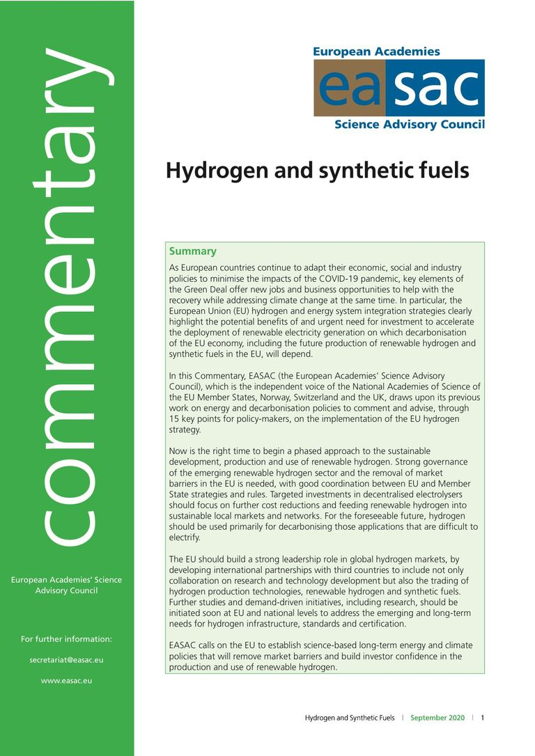 "EASAC Commentary ""Hydrogen and synthetic fuels"""