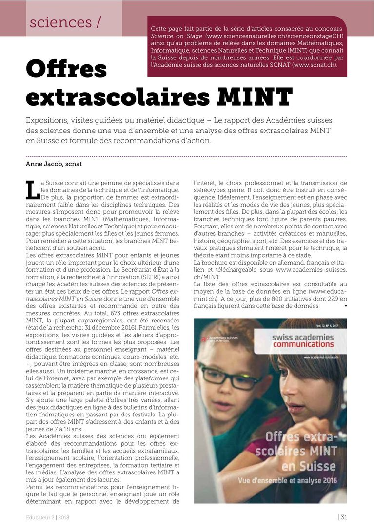 MINT - l'Educateur 2/2018