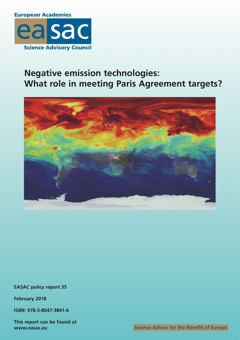 "EASAC report ""Negative emission technologies: what role in meeting Paris Agreement targets?"""