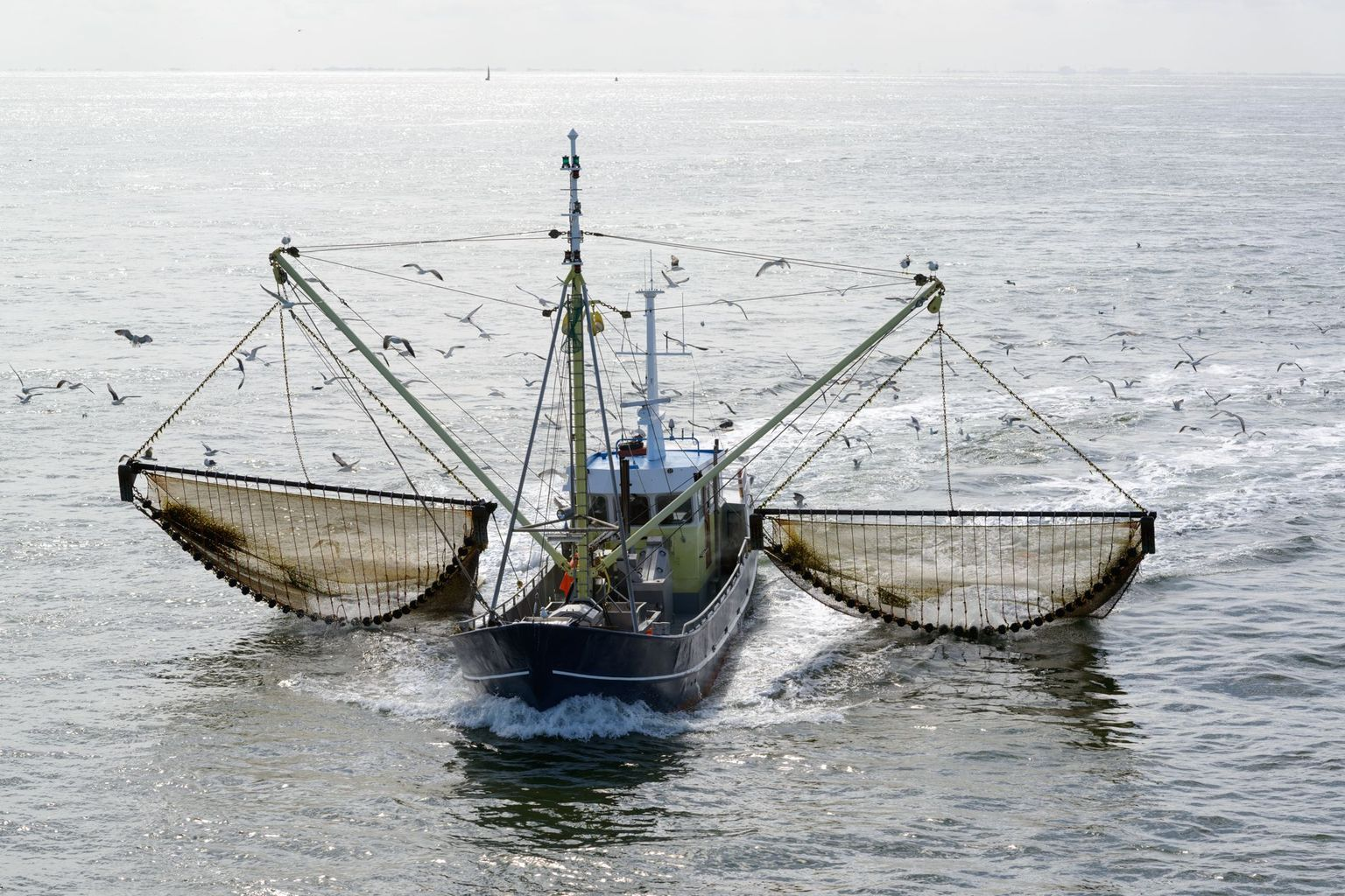 Fishing boat dragging a net through the waters of the Wadden Sea