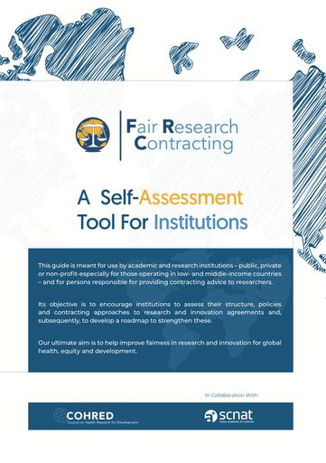 The fair research contracting self-assessment tool supports institutions to engage in fair and equitable negotiation processes for formal contracts despite recognised imbalances in institutional contracting capacities.
