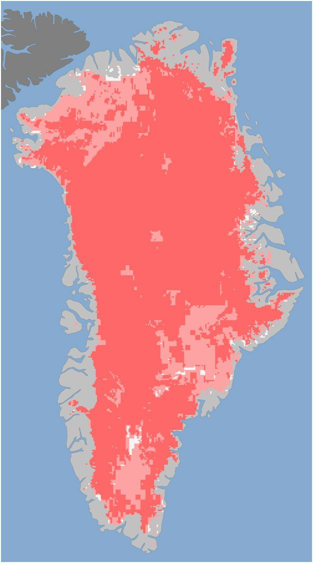 Source and further information: NASA Earth Observatory: Unprecedented Greenland Ice Sheet Surface Melt in 2012