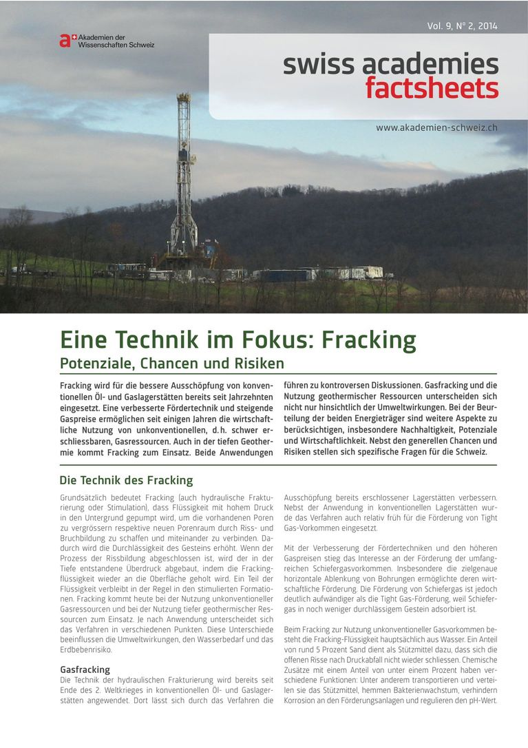 Factsheet Fracking Deutsch: Eine Technik im Fokus: Fracking (Factsheet)