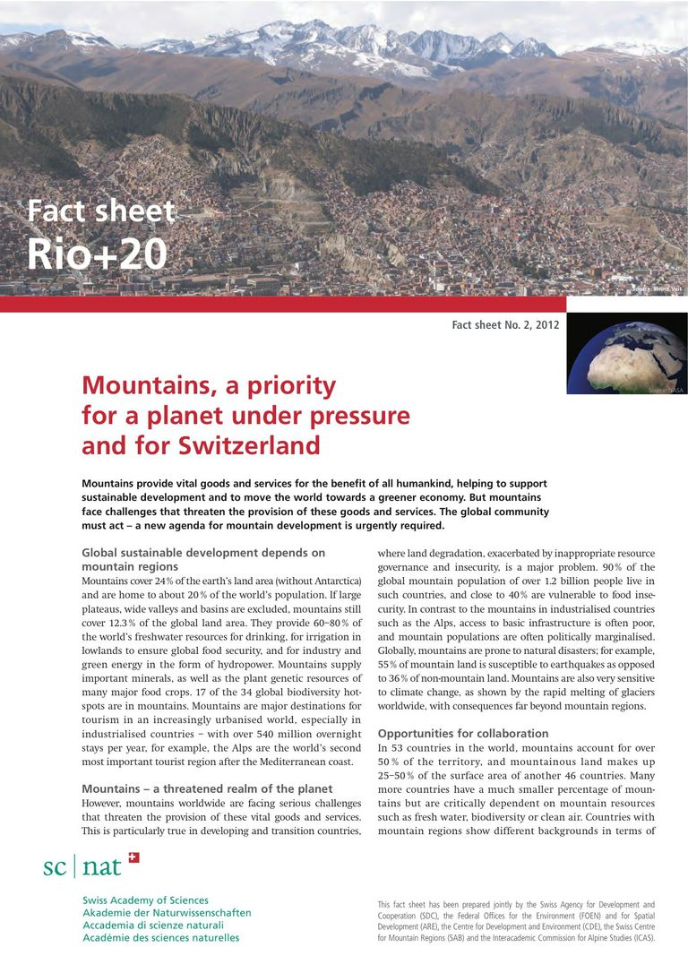 Mountains, a priority for a planet under pressure and for Switzerland