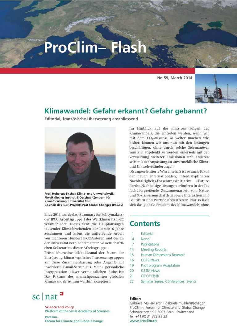 entire publication: ProClim- Flash 59 / Edito Hubertus Fischer