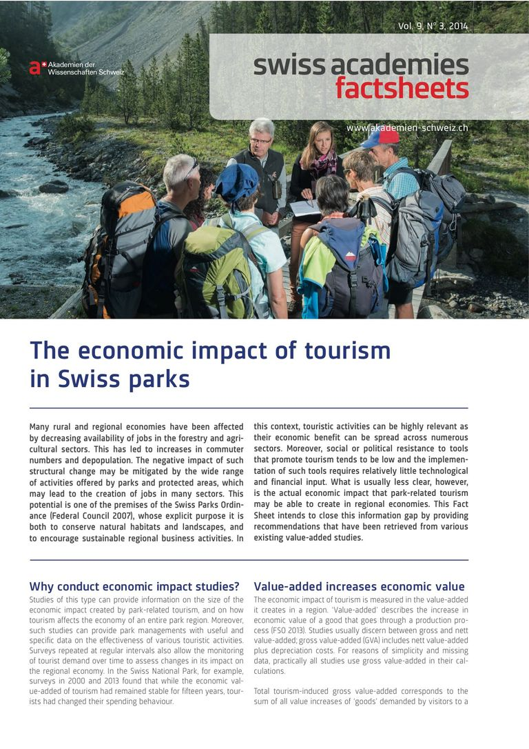 Factsheet: The economic impact of tourism in Swiss parks