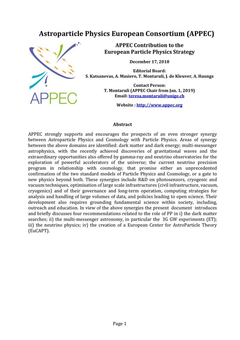 APPEC Contribution to the European Particle Physics Strategy