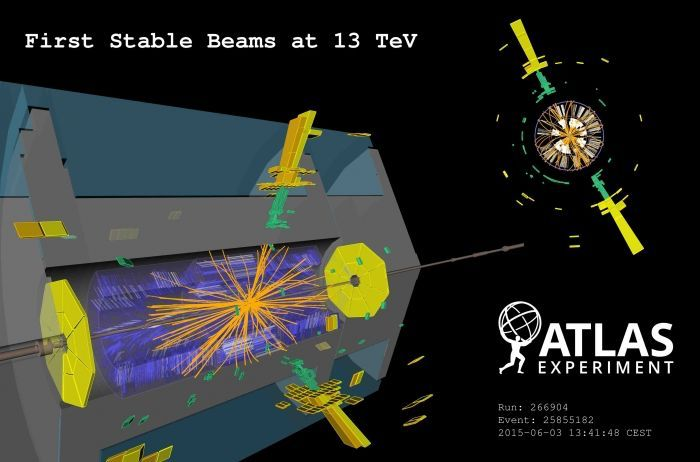 The photo shows one of the first proton-proton-collisions in the particle accelerator LHC with an ernergy of 13 TeV, recorded on June 3rd 2015 by the detector of the ATLAS experiment.