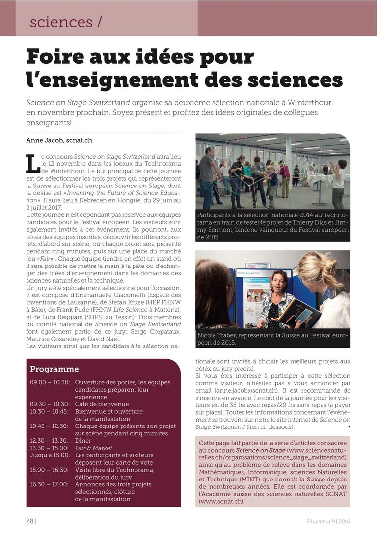 Science on Stage CH - l'Educateur 9/16