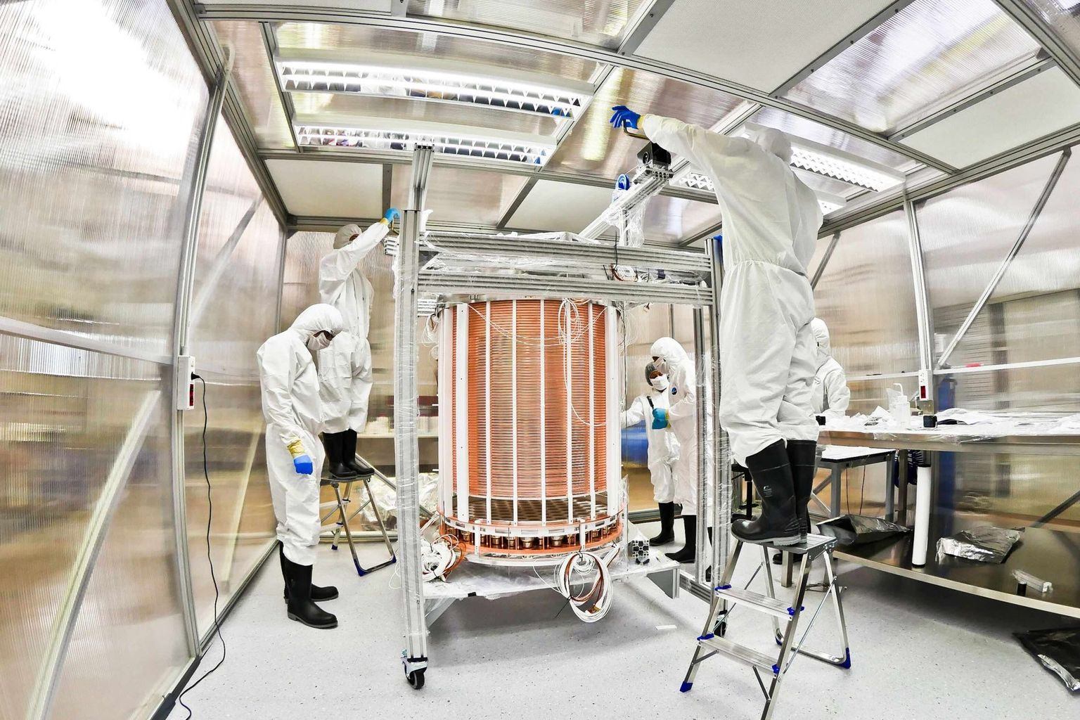 The heart of the project: The XENON1T Time Projection Chamber (TPC) after assembly in a clean room.